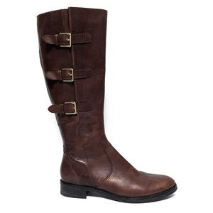 Ecco Brown Calf Boots Leather Buckles